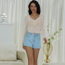 Yilibasha Tie Front Shirred Hem Heart Milkmaid Top
