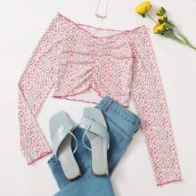 Ditsy Floral Ruched Tee