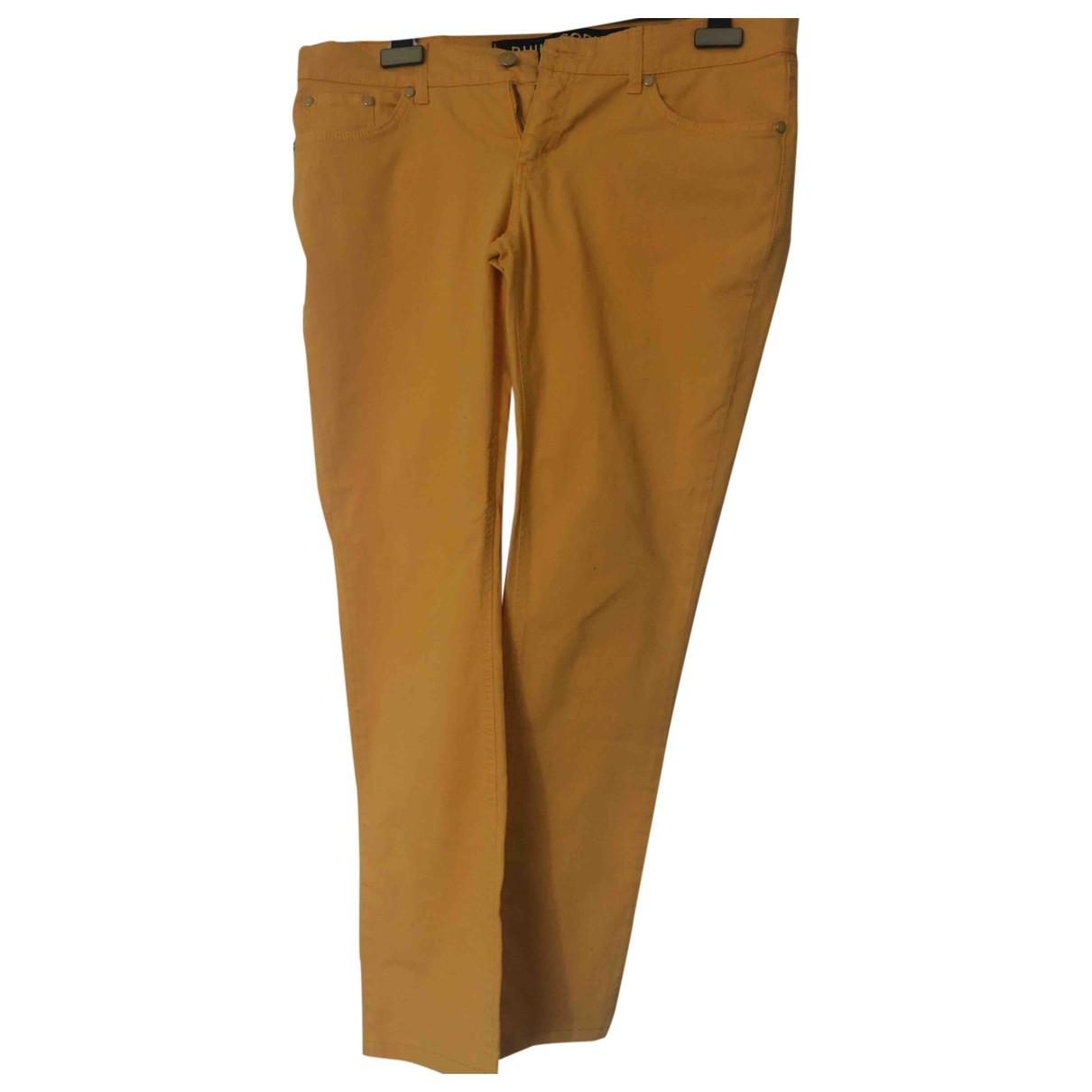 Philosophy Di Alberta Ferretti \N Yellow Cotton Trousers for Women 46 IT