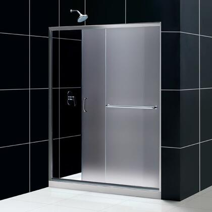 DL-6972R-04FR Infinity-Z 34 In. D X 60 In. W X 74 3/4 In. H Frosted Sliding Shower Door In Brushed Nickel And Right Drain White