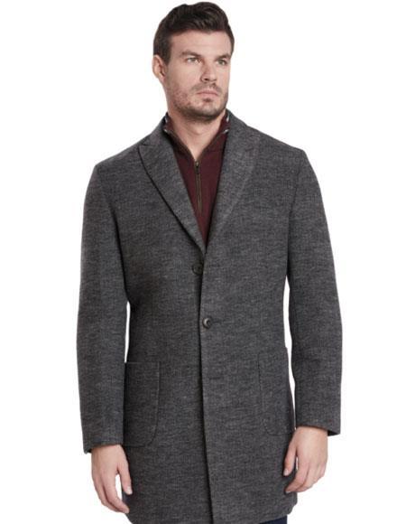Men's 2 Button Gray Single Breasted Peak Lapel Car coat ~ Carcoat