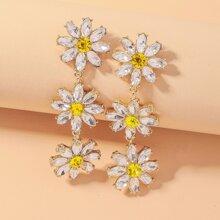 Rhinestone Flower Drop Earrings