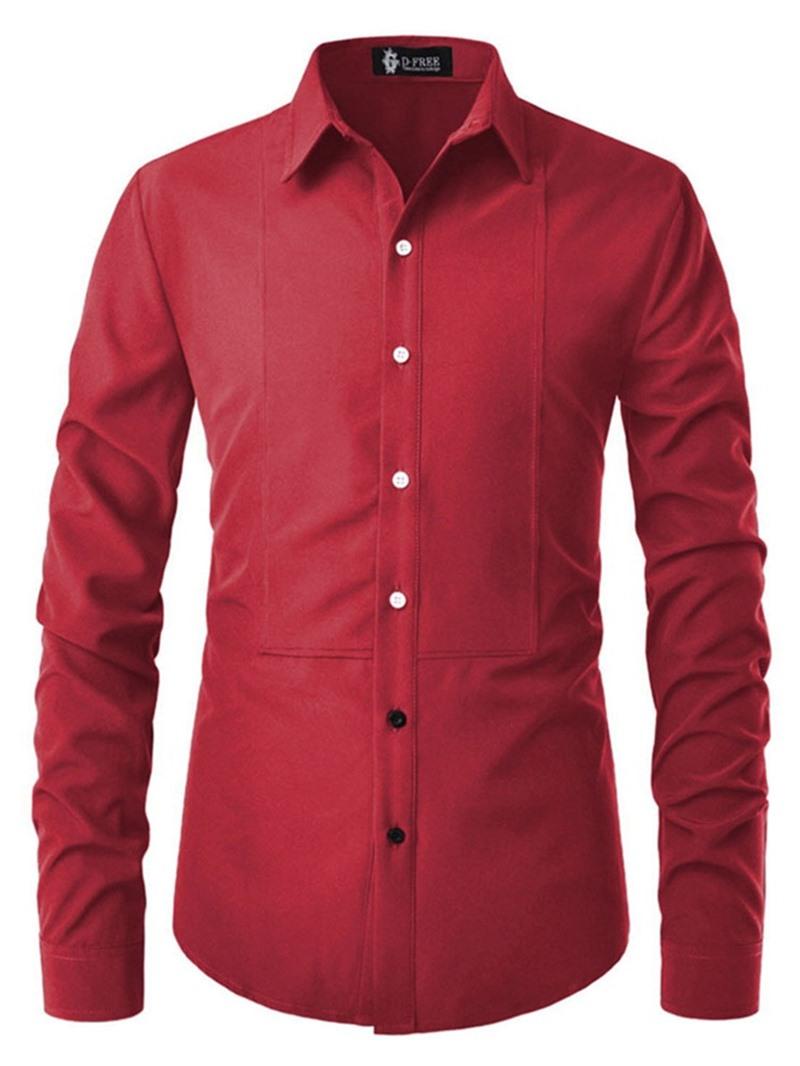 Ericdress Button Plain Lapel Slim Mens Single-Breasted Shirt
