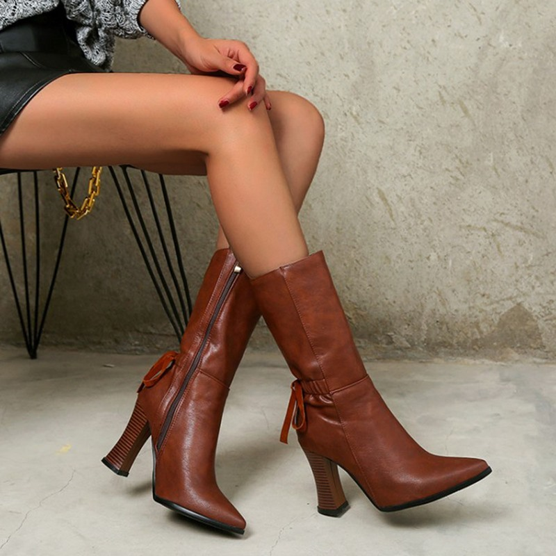 Ericdress Plain Pointed Toe Side Zipper OL Boots