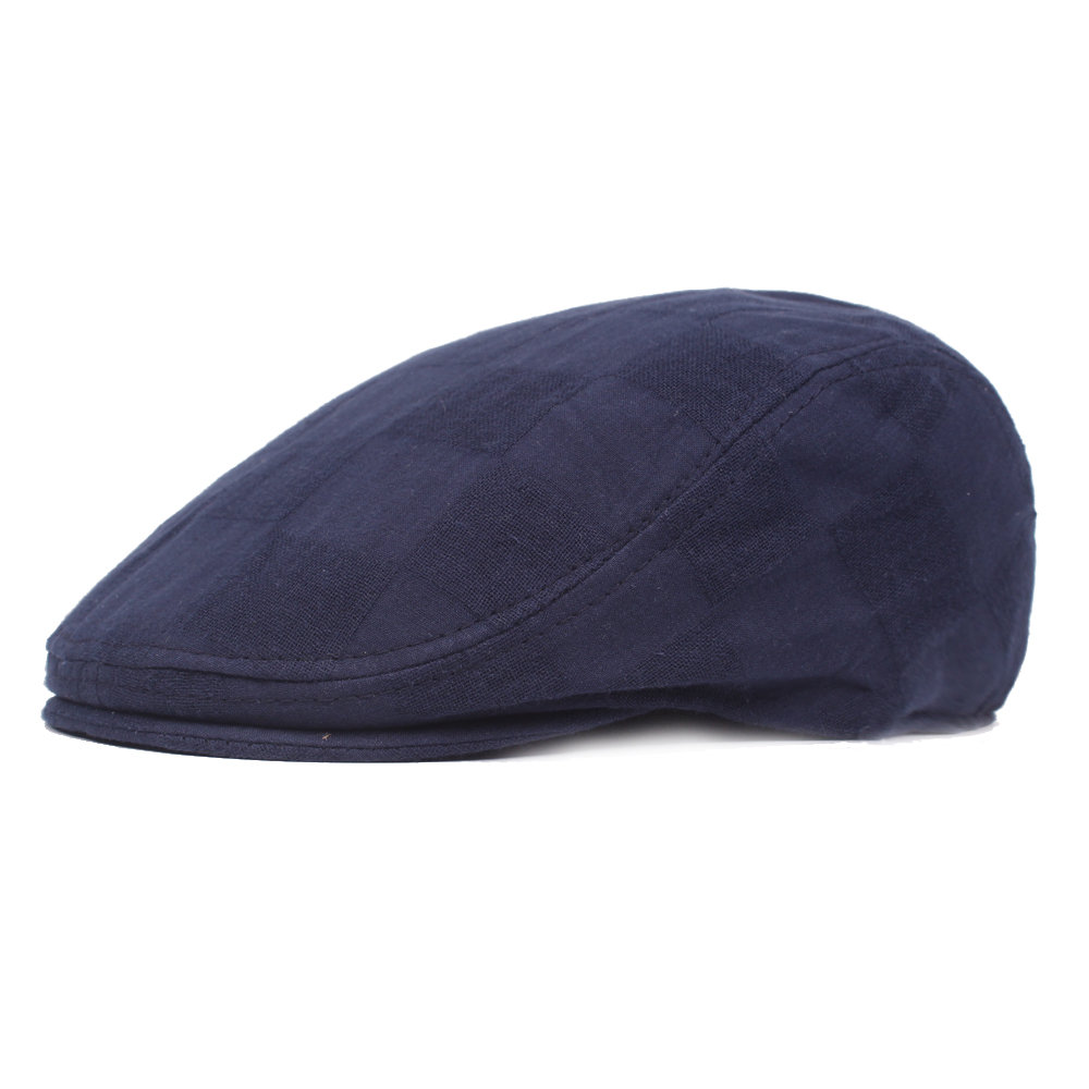 Mens Cotton Patchwork Solid Beret Caps Newsboy Buckle Adjustable Casual Outdoors Peaked Cabbie Hat