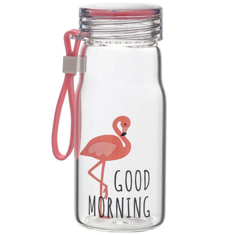 Water Bottle Fresh Cartoon Flamingo Pattern Portable Bottle Cup