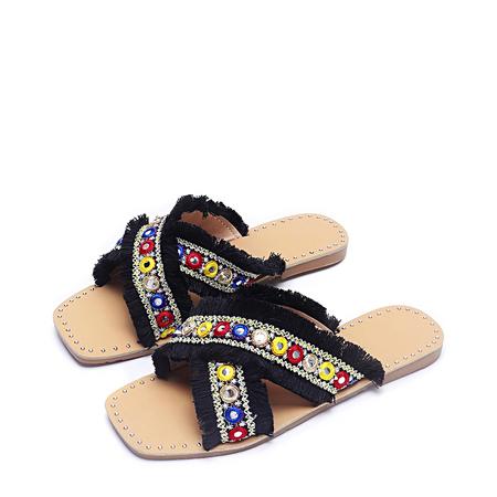 Yoins Black Tassel Jewelled Design Slippers