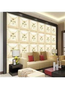 Charming Beige Three-dimensional Square Plaid Pattern Decorative Wall Murals