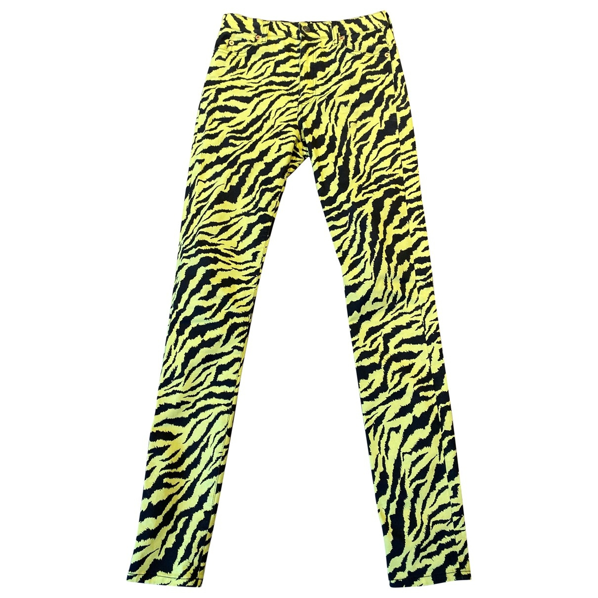 Gucci \N Yellow Cotton Trousers for Women 40 IT