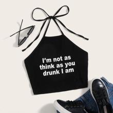 Slogan Graphic Self Tie Halterneck Top