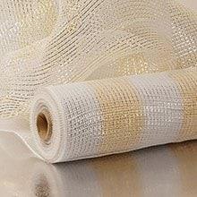 21X10 Yards White/Cream Metallic Wide Strpd Deco Mesh Polypropylene / Cellophane - Wraps Width: 21 Length: 10 yd by Paper Mart
