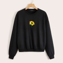 Drop Shoulder Embroidery Detail Pullover