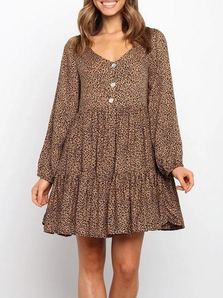 Milanoo Brown Shift Dresses Women V Neck Long Sleeves Animal Print Ruffle Tube Dress