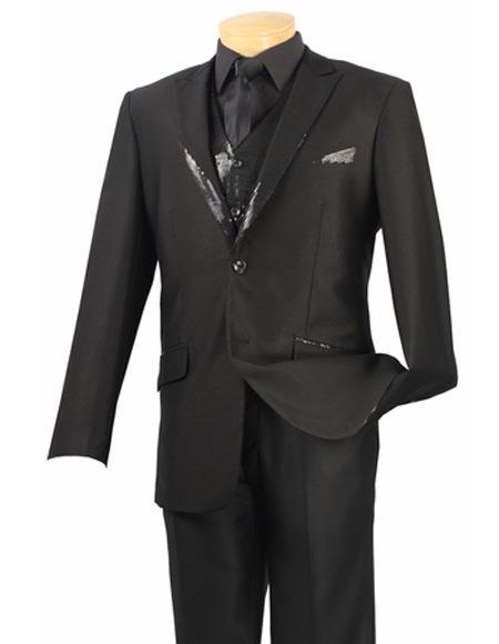 Men's Single Breasted Vest Black Two Button Suit Peak Lapel