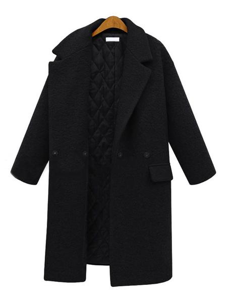 Milanoo Prendas de abrigo para mujer Bolsillos con cuello vuelto Abrigo largo rojo Abrigo de invierno