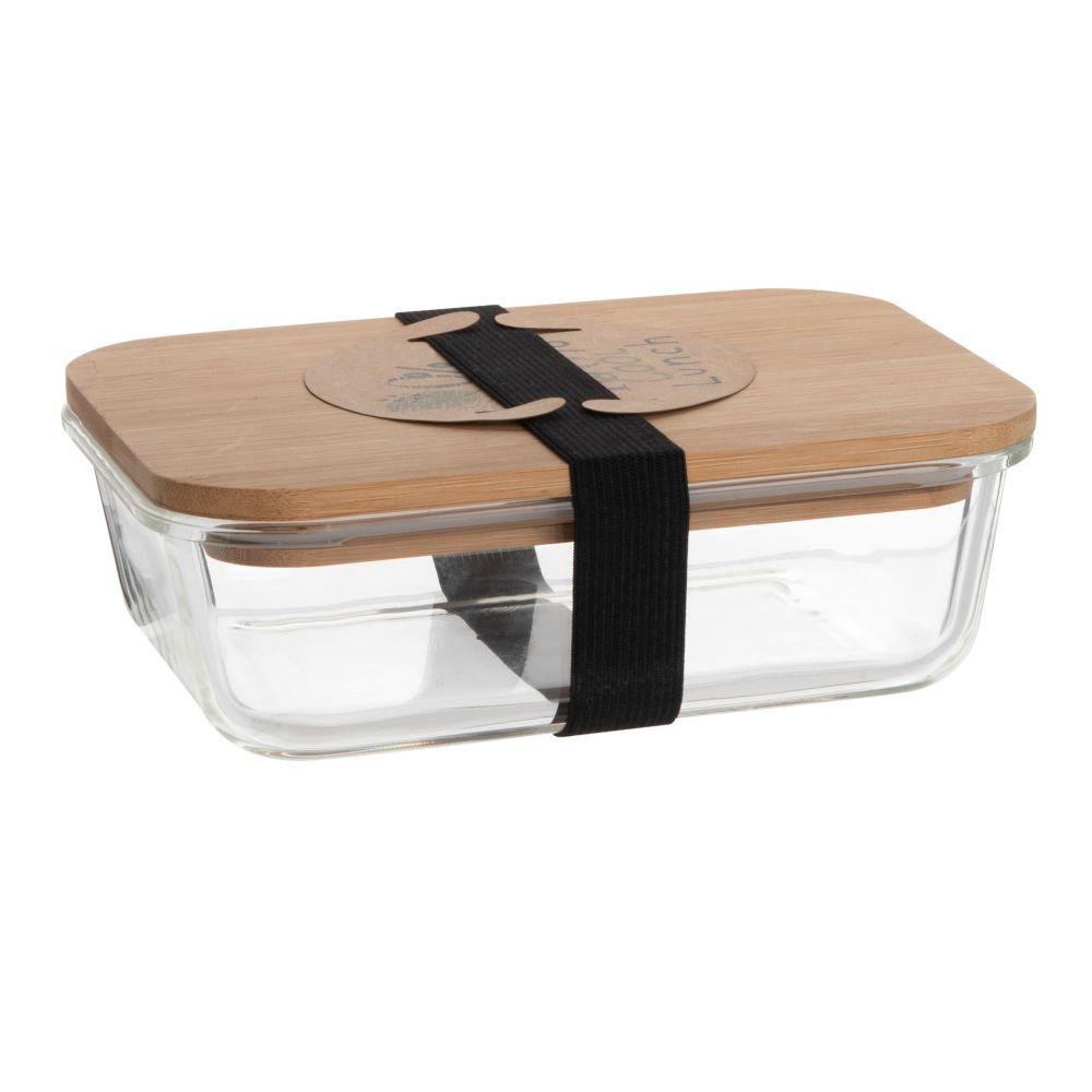 Lunchbox aus Glas und Bambus