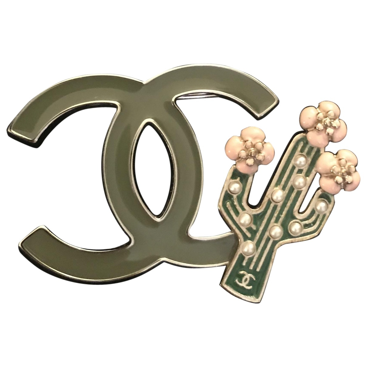 Chanel \N Khaki Metal Pins & brooches for Women \N