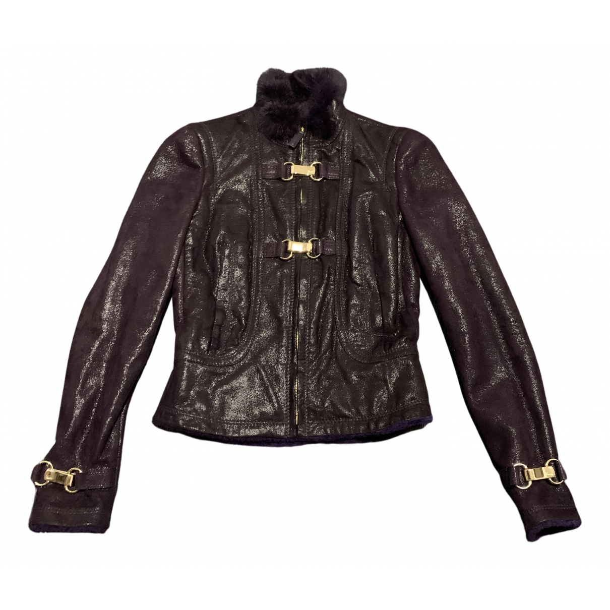 Gucci N Purple Shearling Leather jacket for Women 42 IT