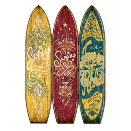 BM205779 Beach Themed Surfboard Shaped 3 Panel Wooden Room Divider