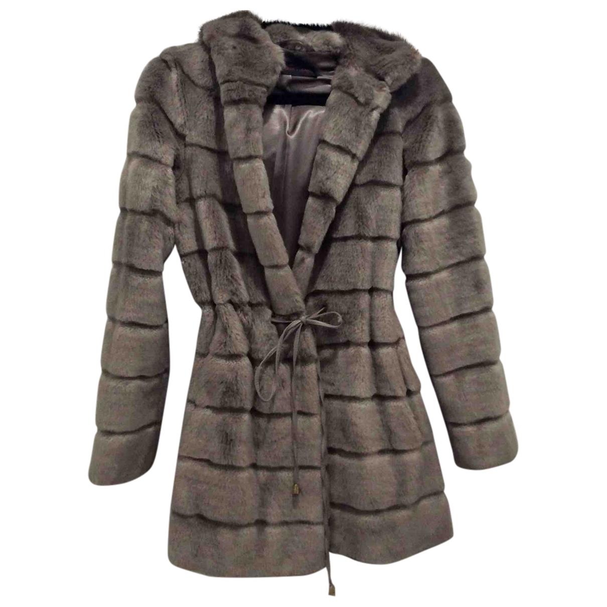 Trussardi Jean - Manteau   pour femme en fourrure synthetique - gris