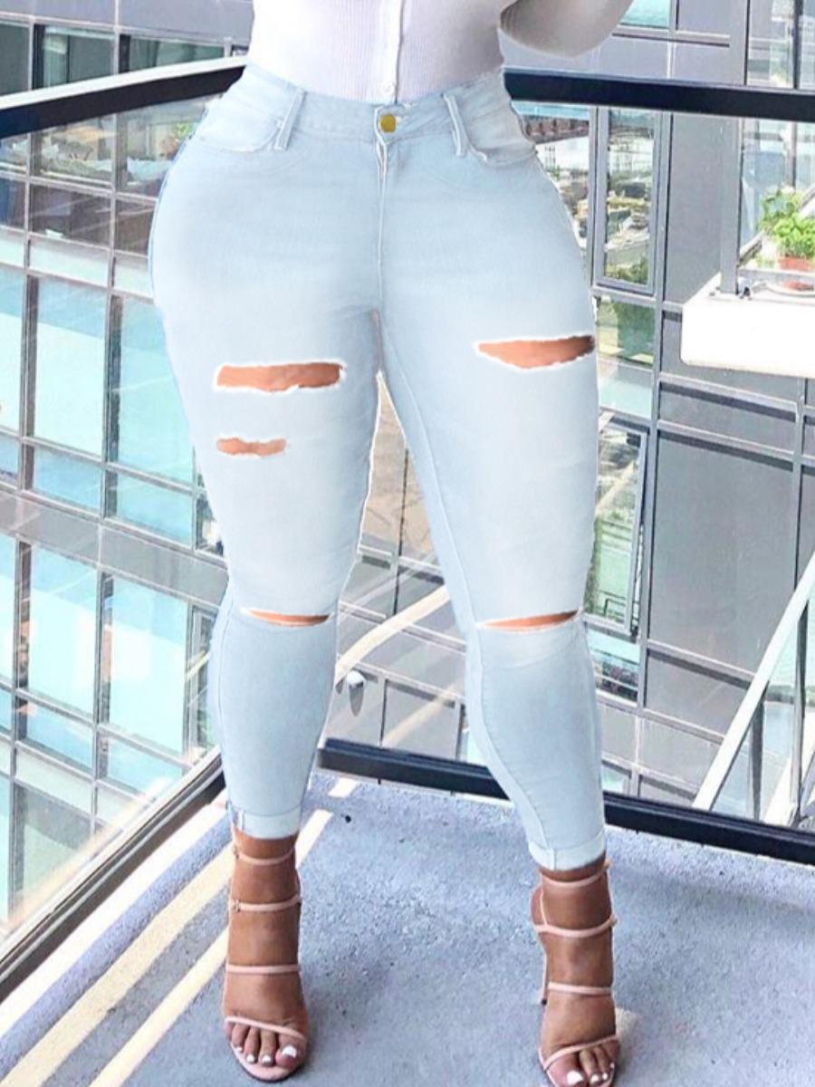 LW lovely Trendy Broken Holes Baby Blue Jeans