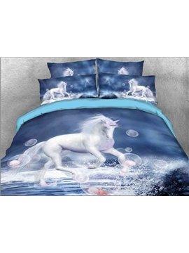 Vivilinen White Unicorn and Bubbles Printed Cotton 4-Piece 3D Bedding Sets/Duvet Covers