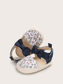 Baby Girl Bow Decor Ditsy Floral Pattern Sandals