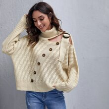 Turtle Neck Button Front Cable Knit Sweater