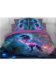 Jumping Unicorn in The Galaxy 3D Printed 4-Piece Polyester Bedding Sets/Duvet Covers