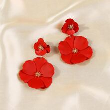 Flower Decor Drop Earrings