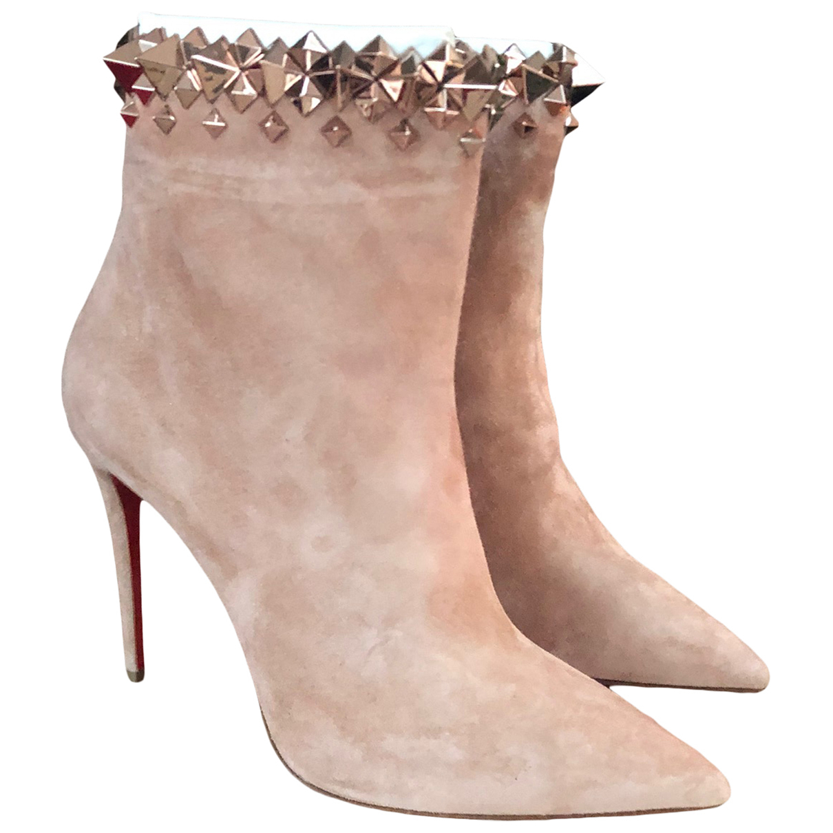 Christian Louboutin N Beige Suede Ankle boots for Women 37.5 EU