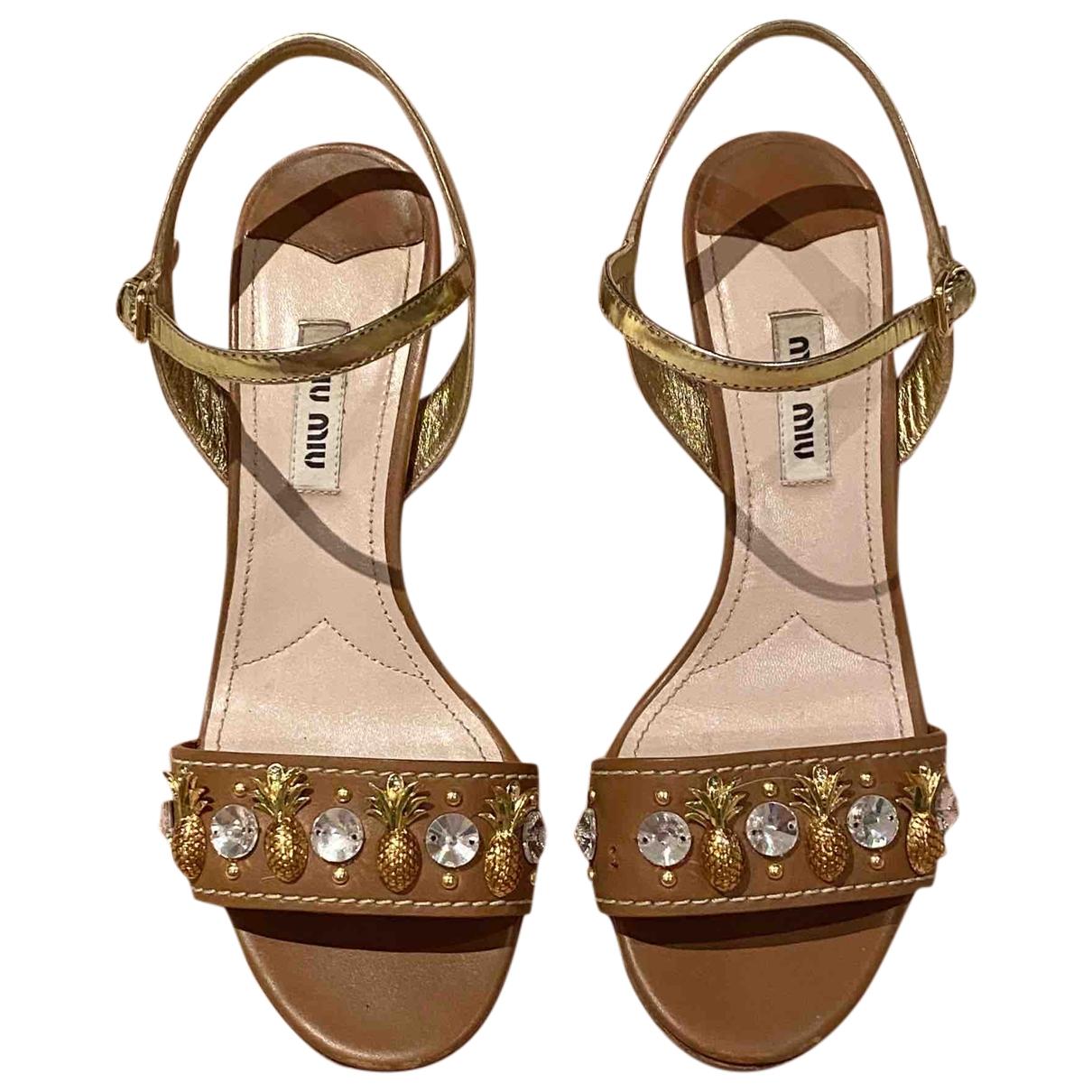Miu Miu \N Brown Leather Sandals for Women 36 IT