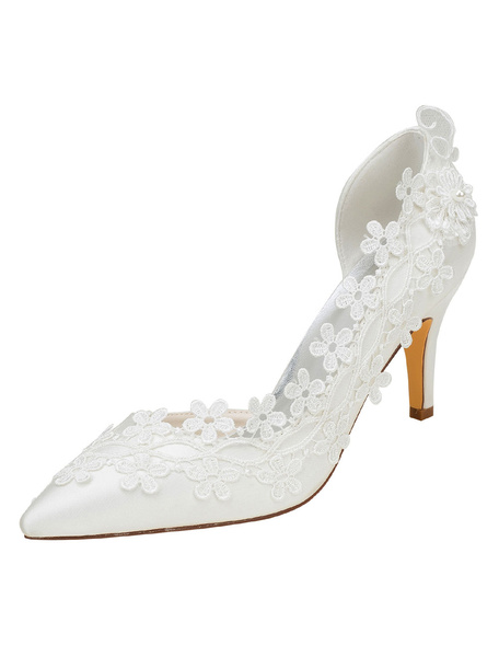 Milanoo Ivory Wedding Shoes High Heel Pointed Toe Flowers Beaded Bridal Pumps