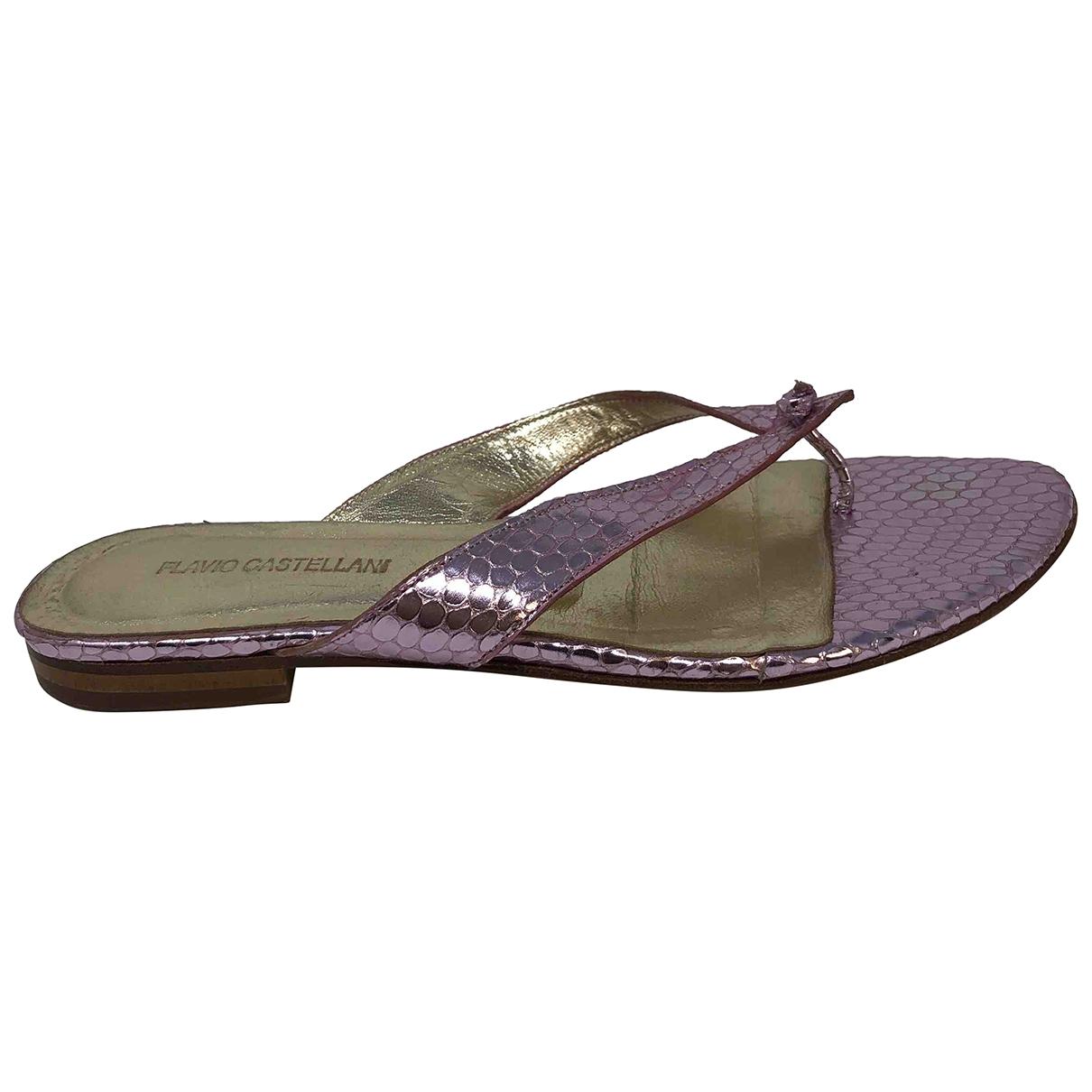 Flavio Castellani \N Metallic Leather Sandals for Women 37 EU