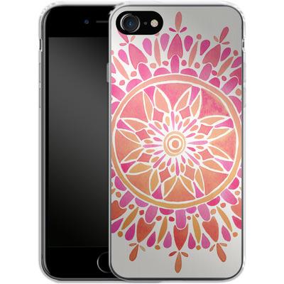 Apple iPhone 7 Silikon Handyhuelle - Mandala Pink Ombre von Cat Coquillette