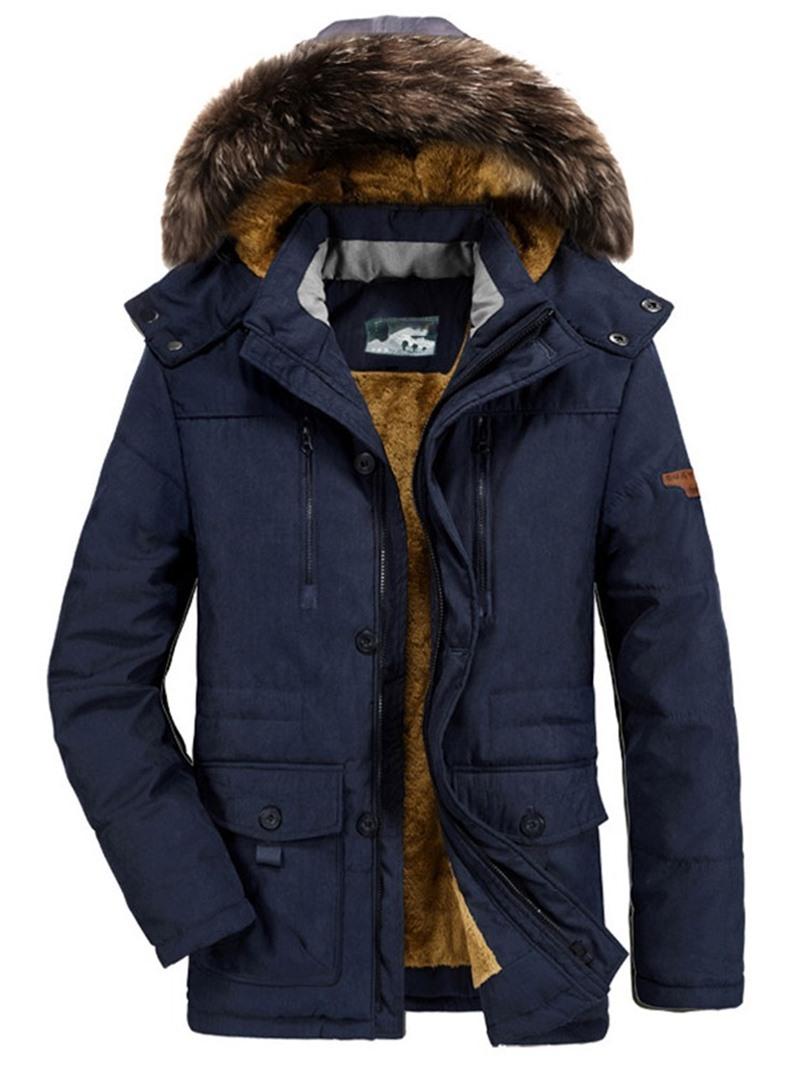 Ericdress Mid-Length Hooded Pocket Zipper European Down Jacket