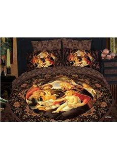 Elegant Famous Painting Print 4 Piece Bedding Sets/Duvet Cover Sets