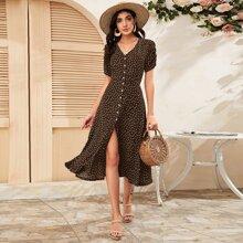 A-Linie Kleid mit Bluemchen Muster, Knopfen vorn und Ruesche an Ärmeln