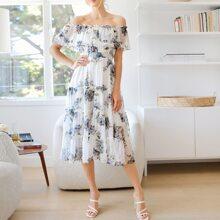 Schulterfreies Kleid mit Schosschen, geraffter Taille und Blumen Muster