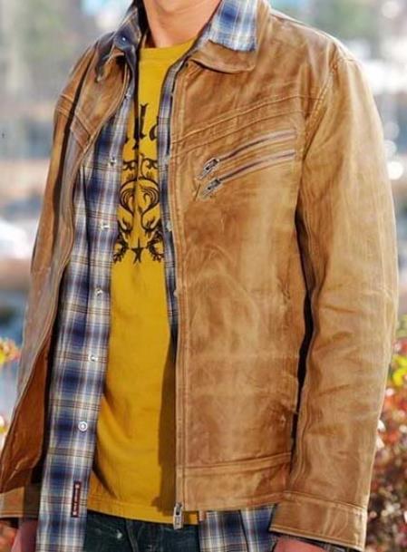 Genuine Leather Jacket Slim Fit Cognac Distressed Simple tanners