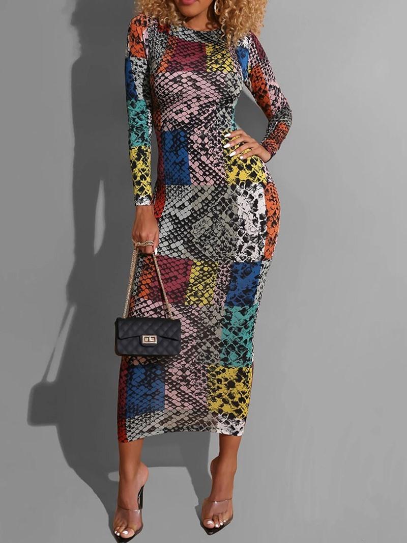 Ericdress Long Sleeve Mid-Calf Print Regular Sheath Dress