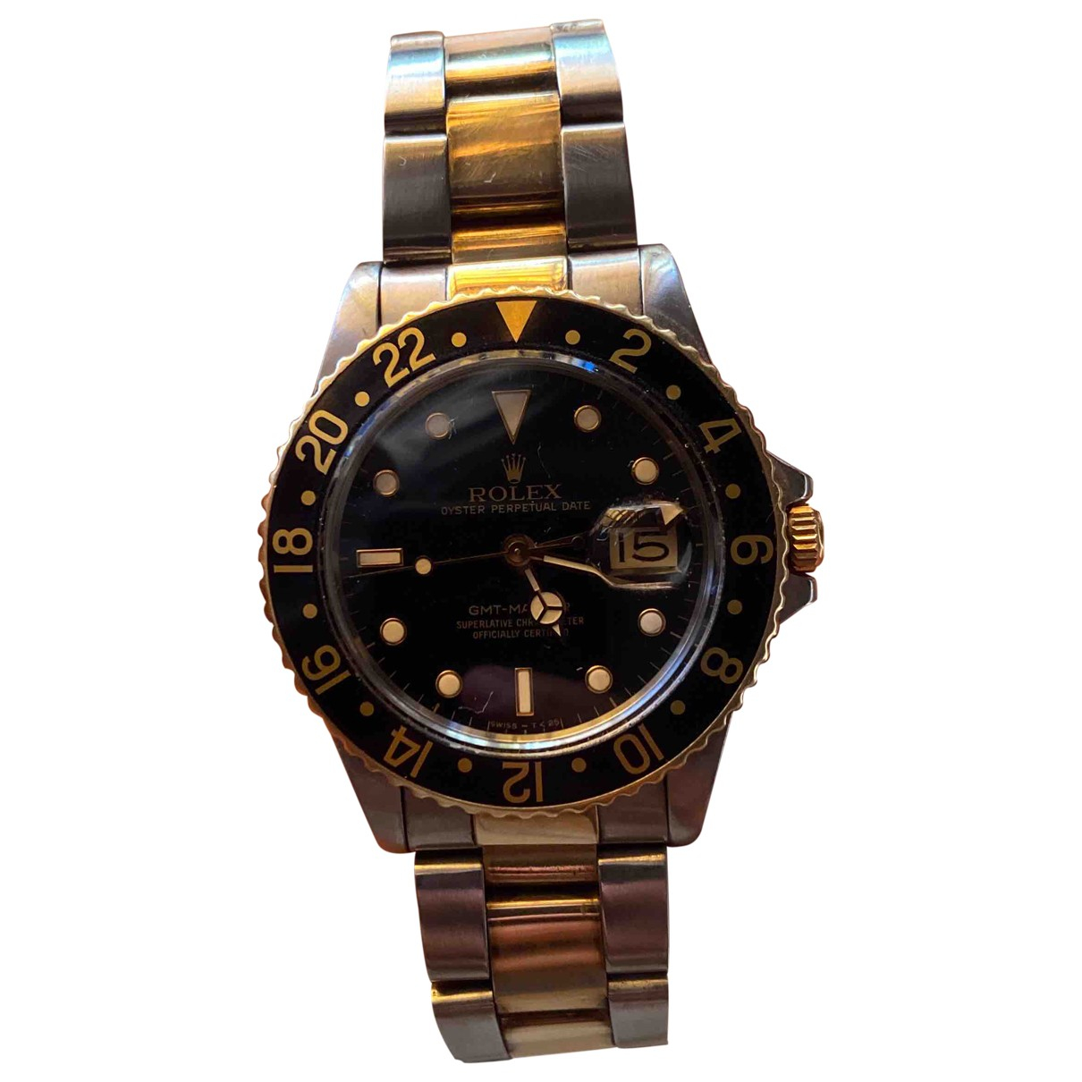 Rolex GMT Master Black gold and steel watch for Men N