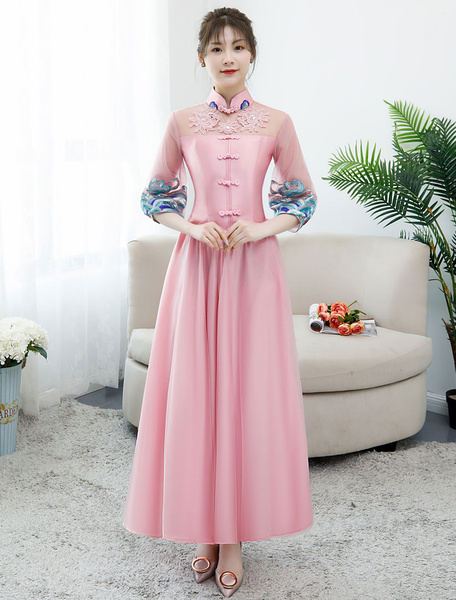 Milanoo Pink Bridesmaid Dress 2020 Satin Stand Collar Half Sleeve Crop Top Ankle Length Graduation Party Dresses