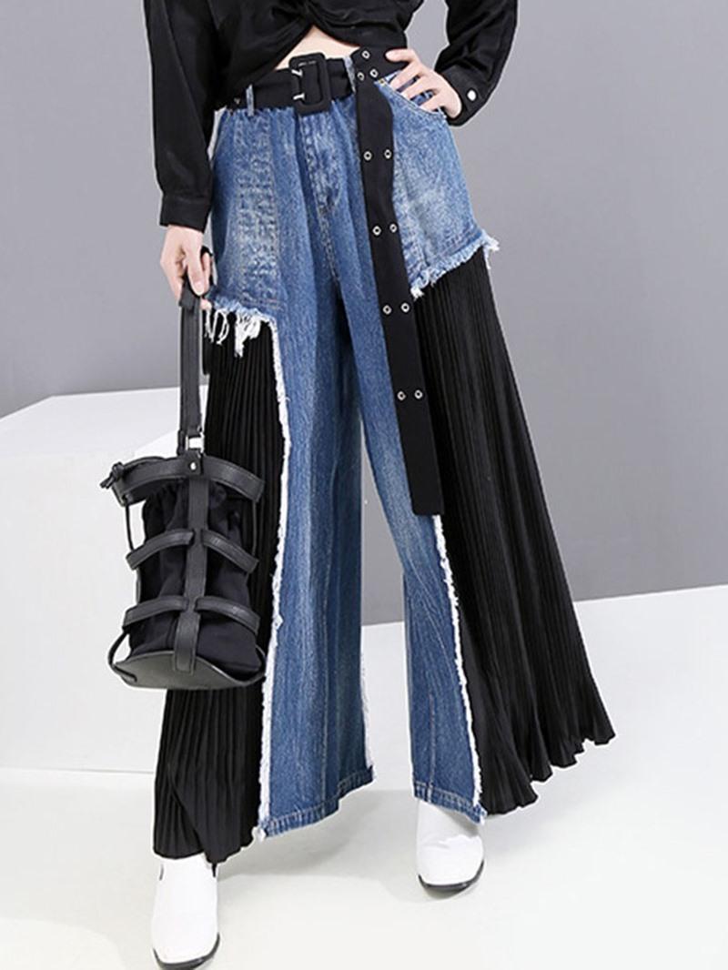 Ericdress Zipper Color Block Mid Waist Zipper Jeans