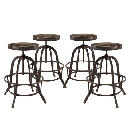 Collect Collection EEI-1607-BRN-SET Set of 4 Bar Stools with Round Shaped Seat  Indutrial Modern Style  Iron Footrest Ring  Cast Iron Base and Solid