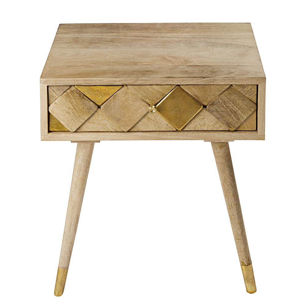 Nachttisch mit 1 Schublade aus Mangoholz mit vergoldetem Effekt Salome