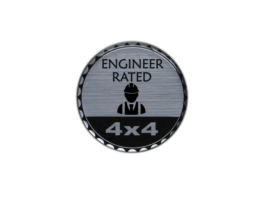 Tufskinz JEX059-DUM-316-G Rated Badge Fits Jeep 1 Piece Kit In Brushed Silver(Engineer Rated)