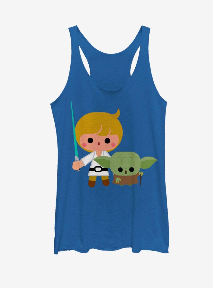 Star Wars Cute Cartoon Luke Yoda Womens Tank Top