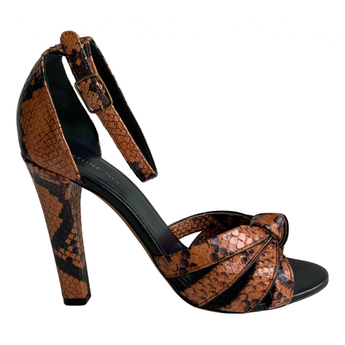 Celine \N Orange Python Sandals for Women 36 EU