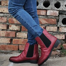 Round Toe Ruched Chelsea Boots